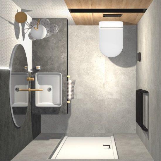 Projekt łazienki widok z góry