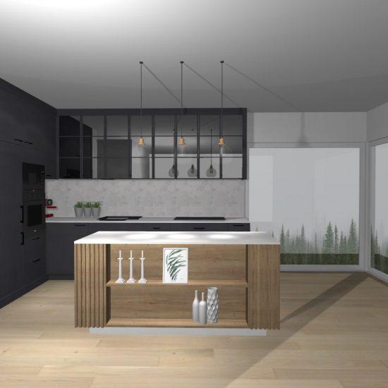 Kuchnia z wyspą front kuchenny z lustrem